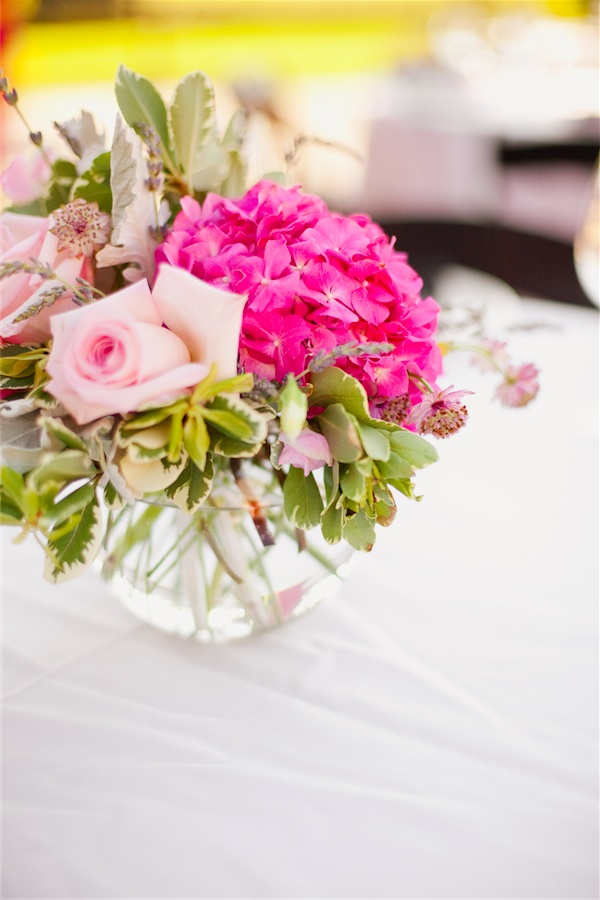 Pink flowers for a vineyard wedding