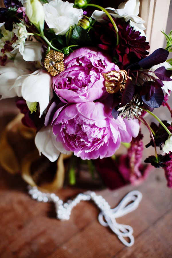 pink and burgundy peony bouquet by Anastasia Ehlers | photo by Anne Nunn