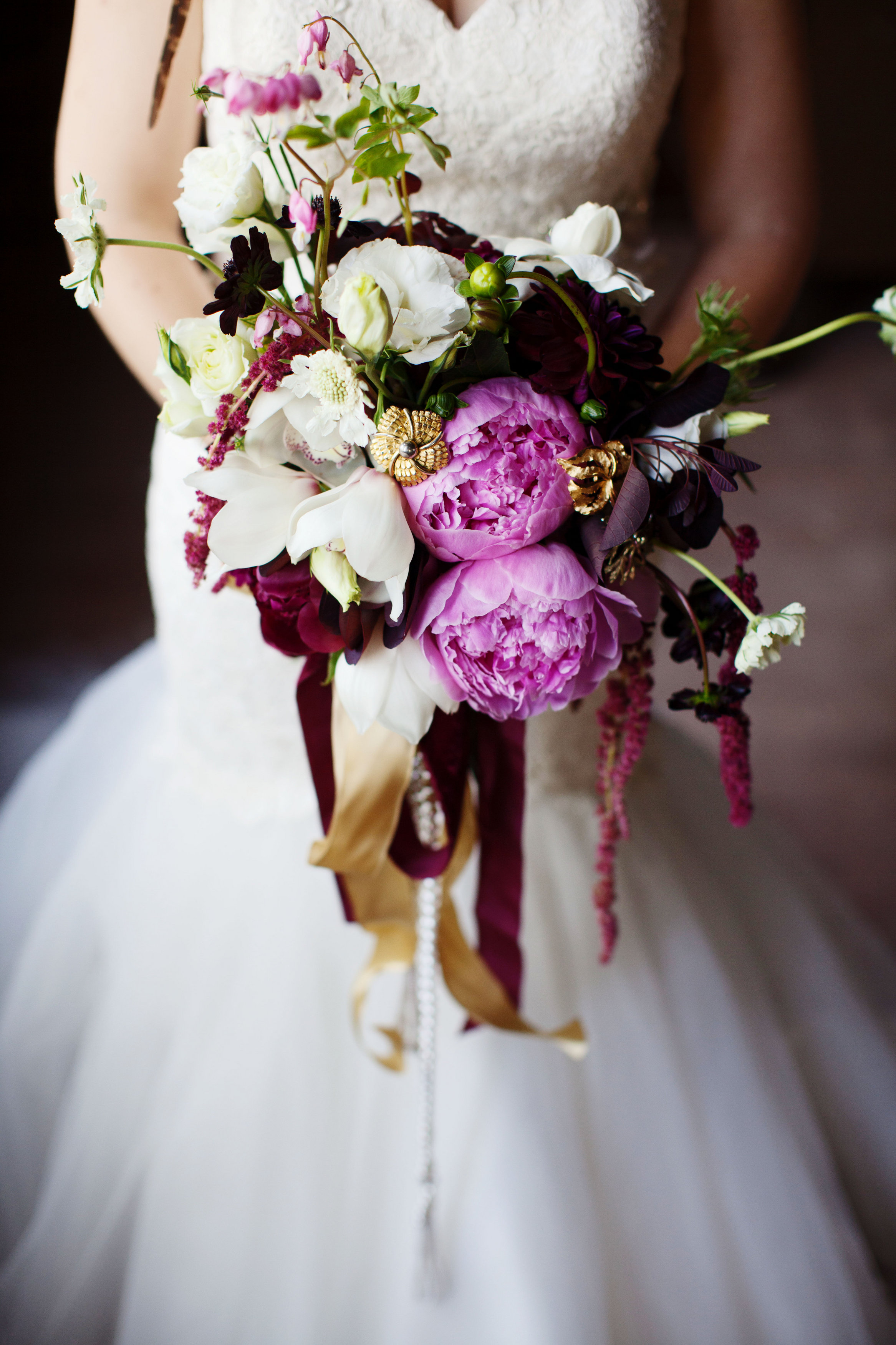 peony and orchid bouquet with chocolate cosmos and bleeding hearts ...