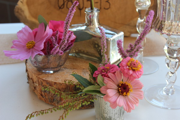 mercury glass and wood with pink flowers