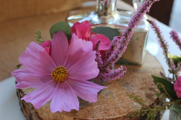 pink flowers in mercury glass