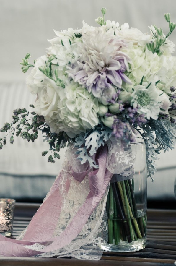 bridal bouquet with lace and fabric trim by Anastasia Ehlers | photo by Amy Rollo