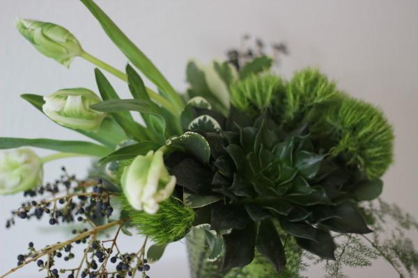 tulip and succulent arrangement by anastasia ehlers