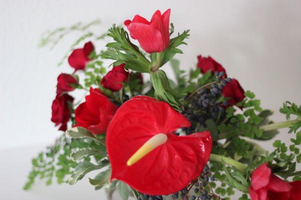 red anthurium arrangement by anastasia ehlers