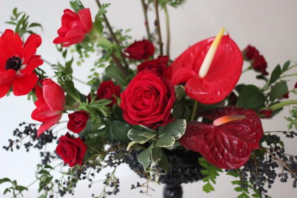 red black floral arrangement by anastasia ehlers