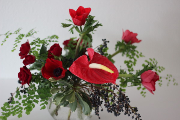 anthurium and anemone arrangement by anastasia ehlers