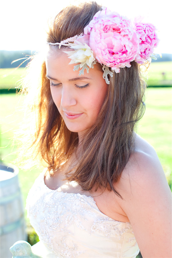 peony floral headpiece by Anastasia Ehlers | photo by Erika Nicole