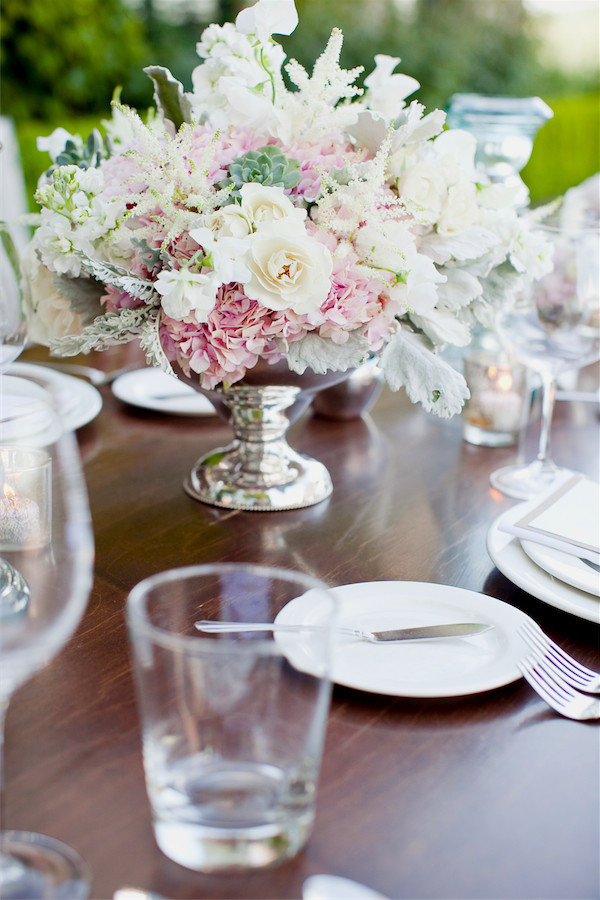 centerpiece in vintage silver compote by Anastasia Ehlers | photo by Erika Nicole