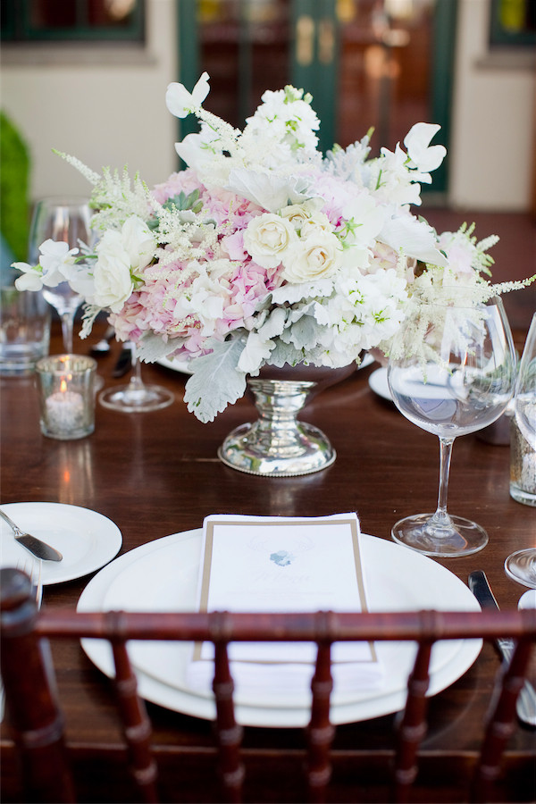 hydrangea, rose, and peony centerpiece with succulents by Anastasia Ehlers | photo by Erika Nicole