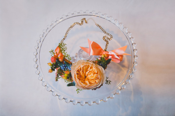 garden rose and muscari floral necklace by Anastasia Ehlers | photo by Cat Dossett