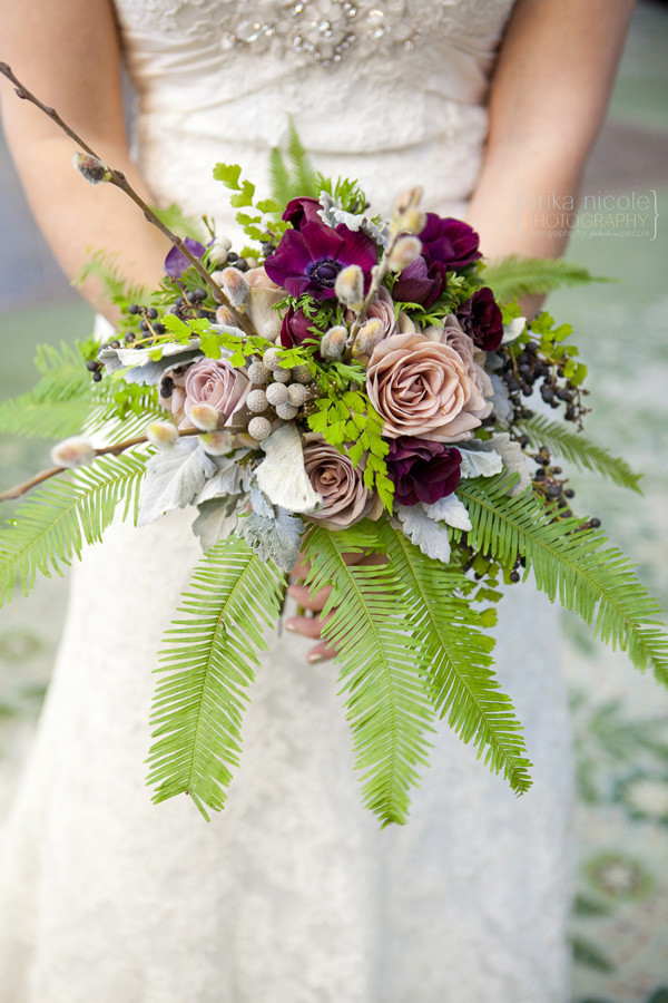 woodsy lavender and burgundy bouquet by Anastasia Ehlers | photo by Erika Nicole