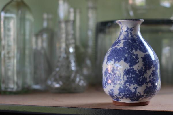 blue ceramic vase | anastasia floral studio tour