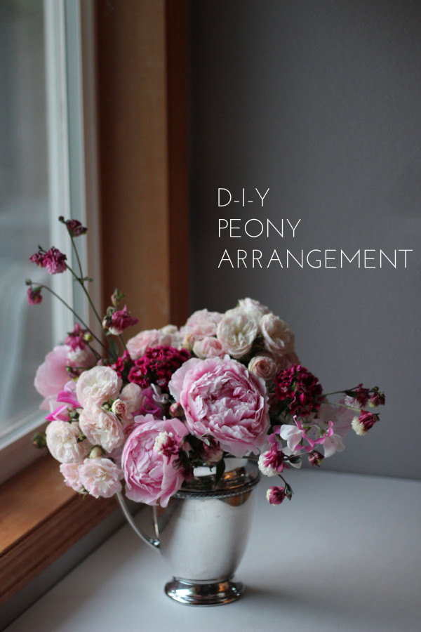 DIY peony arrangement by Anastasia Floral Design via Verily Bride