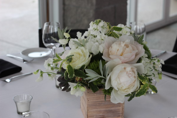 peony centerpiece with herbs by anastasia floral design