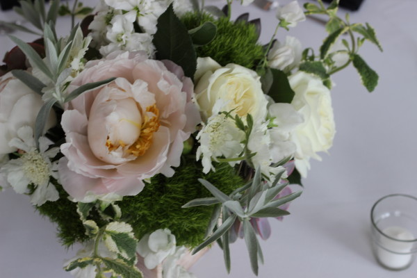 white, green, and blush peony and rose centerpiece with anastasia floral design