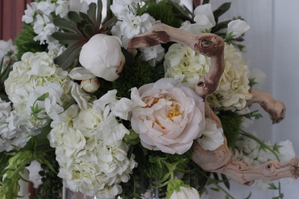 peonies and grape wood with succulents by anastasia floral design