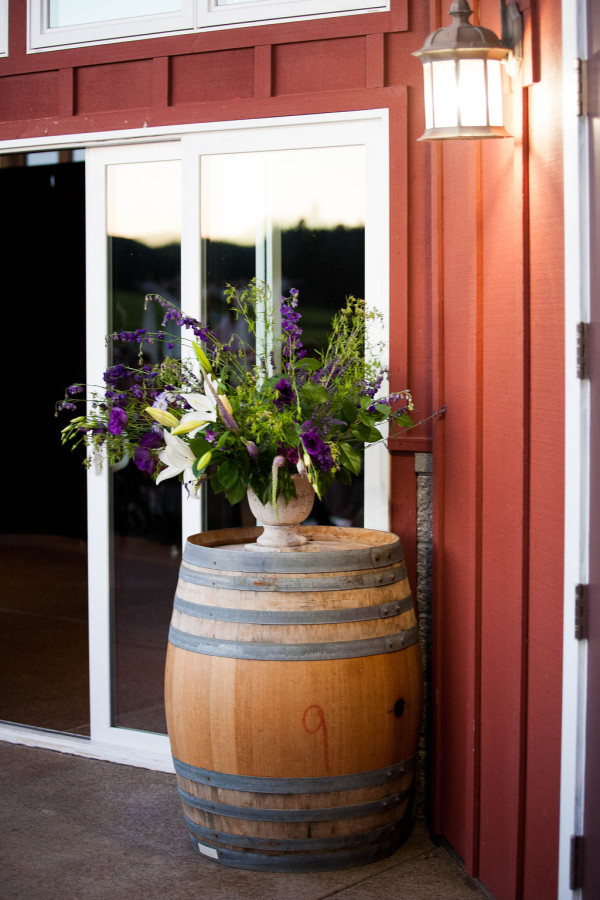 white and purple accent arrangement in urn by anastasia floral | photo by anne nunn